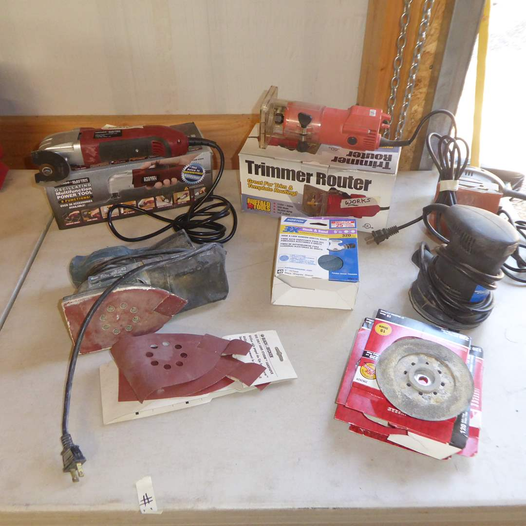 Lot # 37 - Chicago Multi Function Power Tool, Trimmer Router, Palm Sander & More
