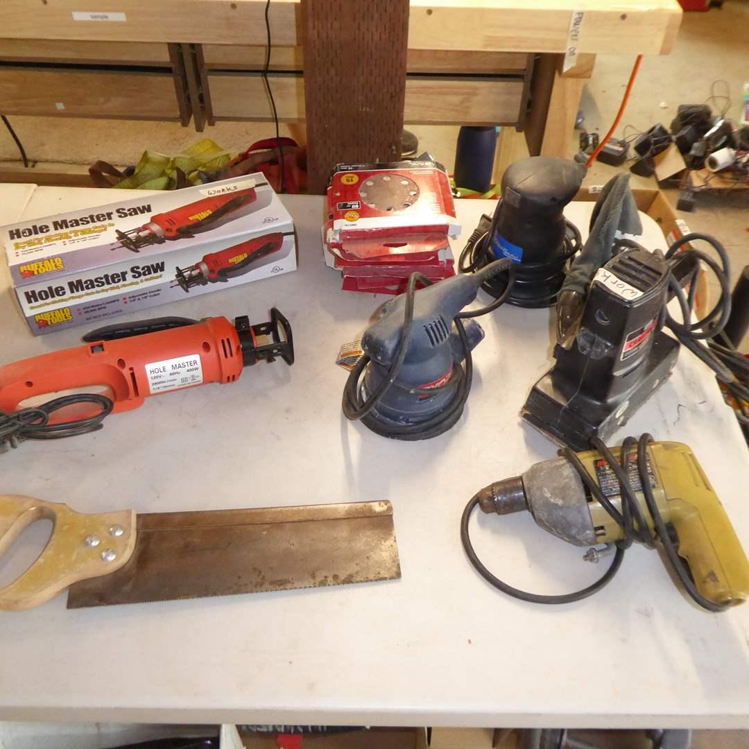 Lot # 40 - Hole Master Saw, B&D Drill, Pad Sander, Orbit Sander & More