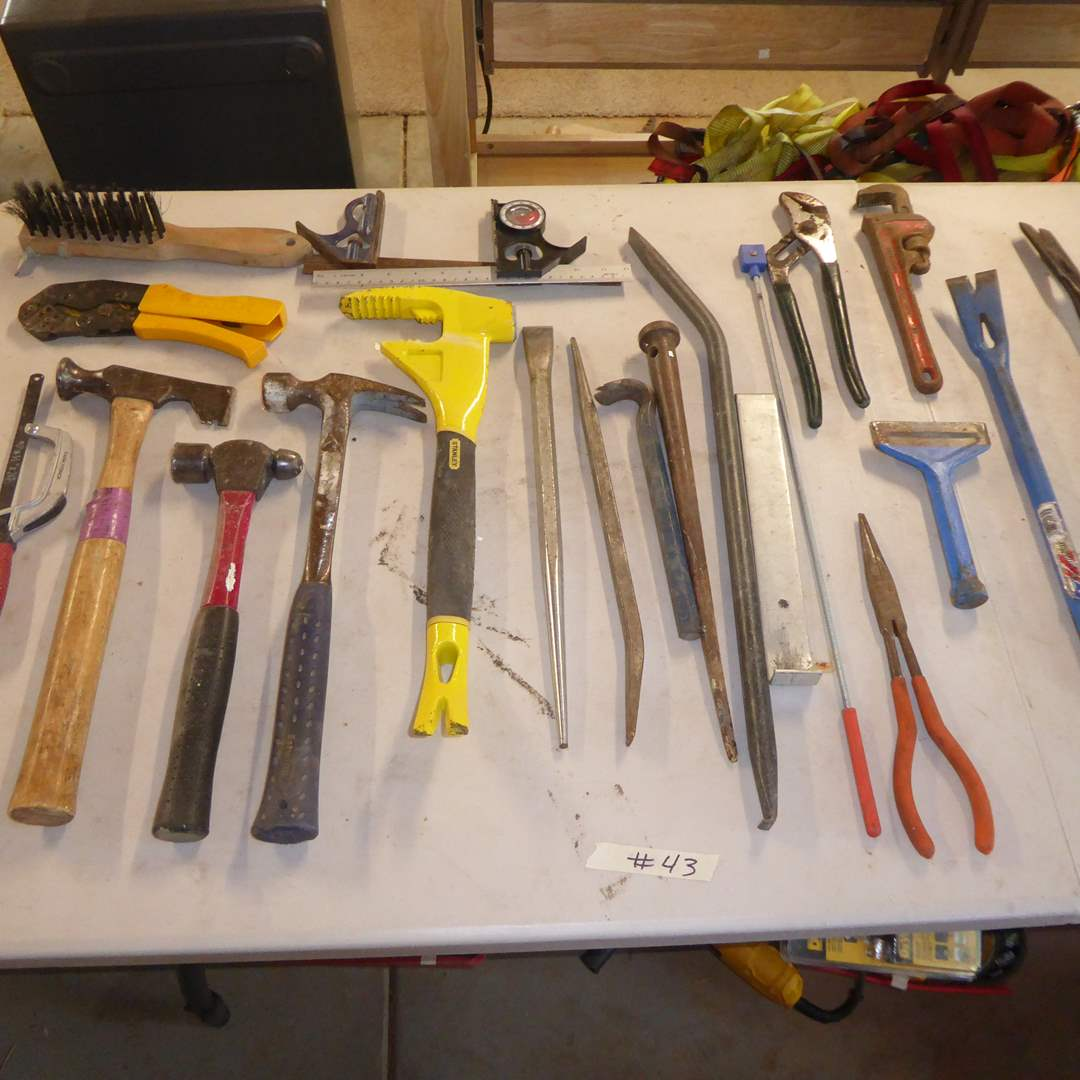 Lot # 43 - Utility Bar, Pry Bars, Drill Bits, Wrenches & Hammers