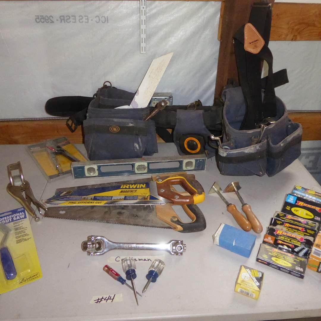 Lot # 44 - Craftsmen Dog Bone Wrench, Tool Belt & Saws