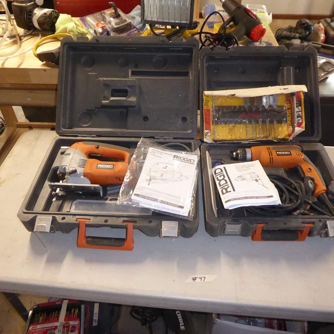 Lot # 47 - RIGID Electric Drill & Orbital Jig Saw