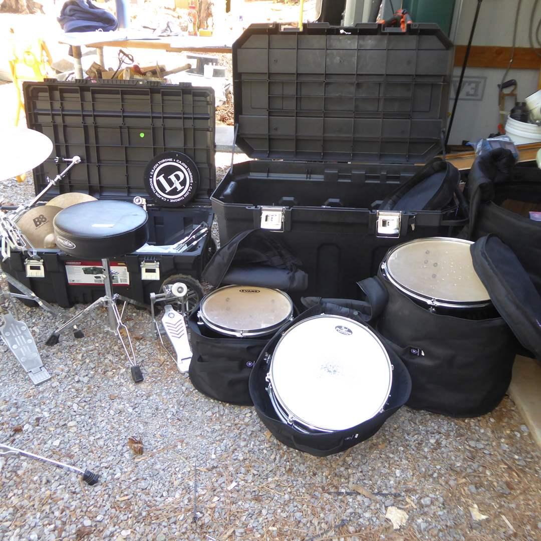 Lot # 361 - Pacific Drum Set, Pearl Snare Drum, Sabian & Zildjian Cybals & Storage Cases