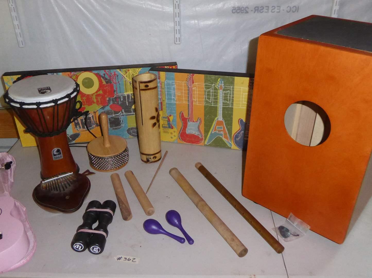 Lot # 362 - Meinl Cajon, Mahalo U30 PK Ukulele, Percussion Instruments & Flutes