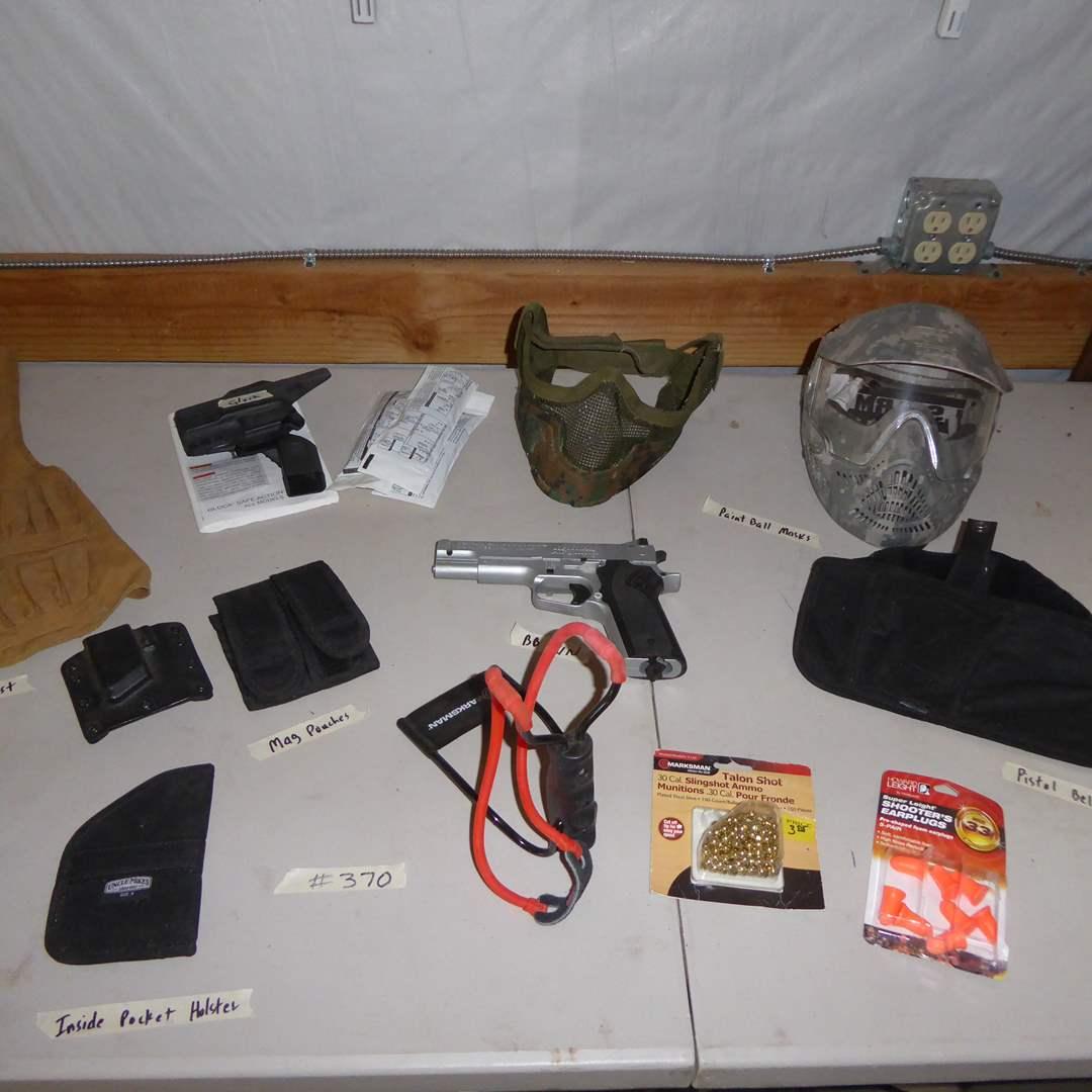 Lot # 370 - Grosman Air BB Gun, Paint Ball Masks, Pistol Belt Pouch, Shot Gun Shell Vest & More