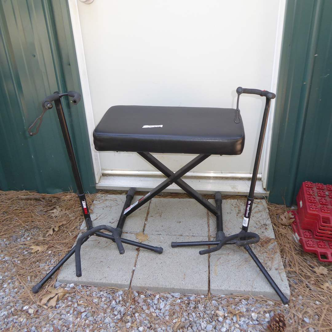 Lot # 374 - Proline Keyboard Bench & On Stage & Free Rest Guitar Stands