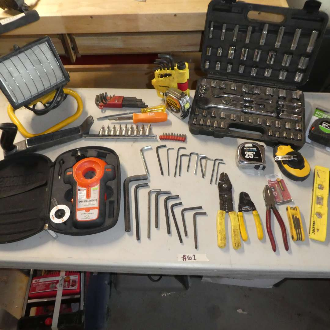 Lot # 62 - Shop Light, Black & Decker Stud Finder, Allen Wrenches, Pittsburg Socket Wrench and Drill Bits