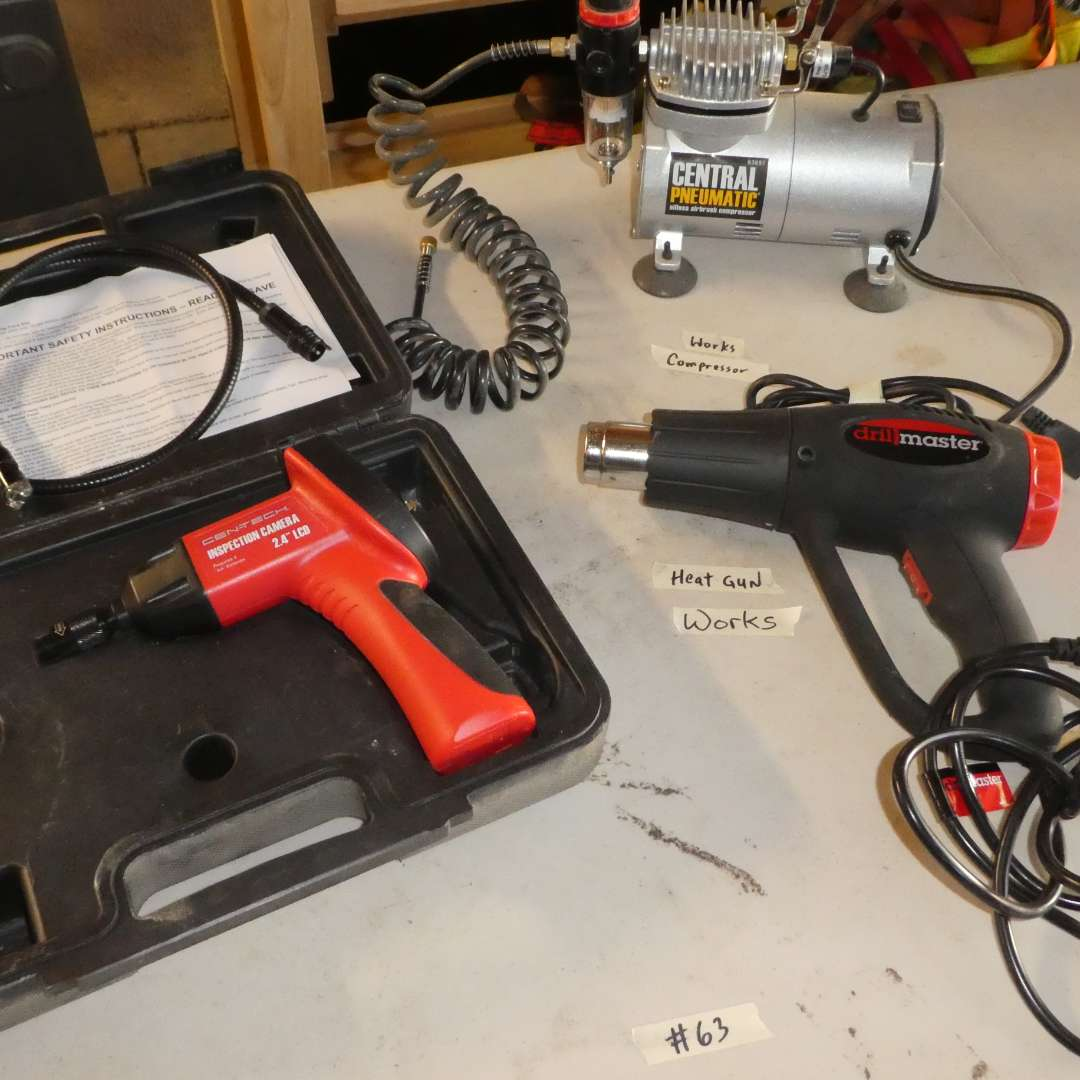 Lot # 63 - Cent-Tech Inspection Camera, Drill Master Heat Gun and Central Pneumatic Table top Compressor