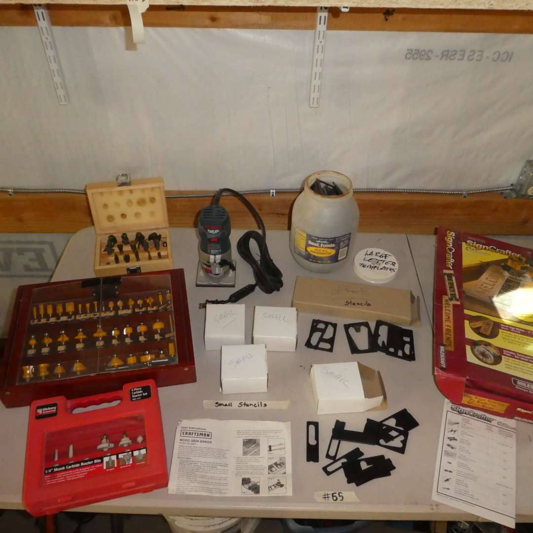 Lot # 65 - Bocsh Router, Variety of Router Bits and SignCrafter w/ Stencils
