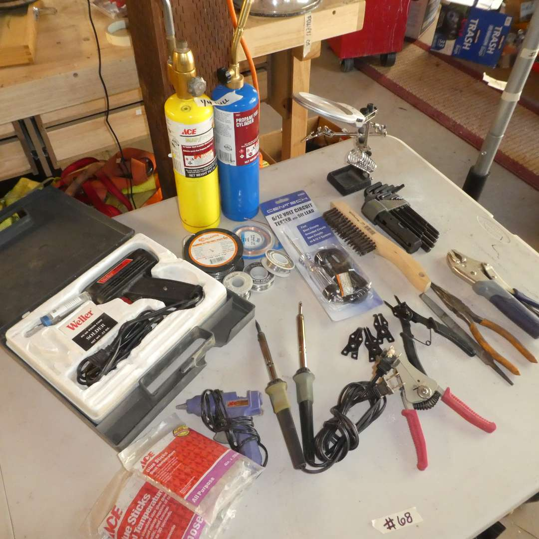 Lot # 68 - Weller Solder, Wire, Variety of Tools and Propane Cylinders(1/4)