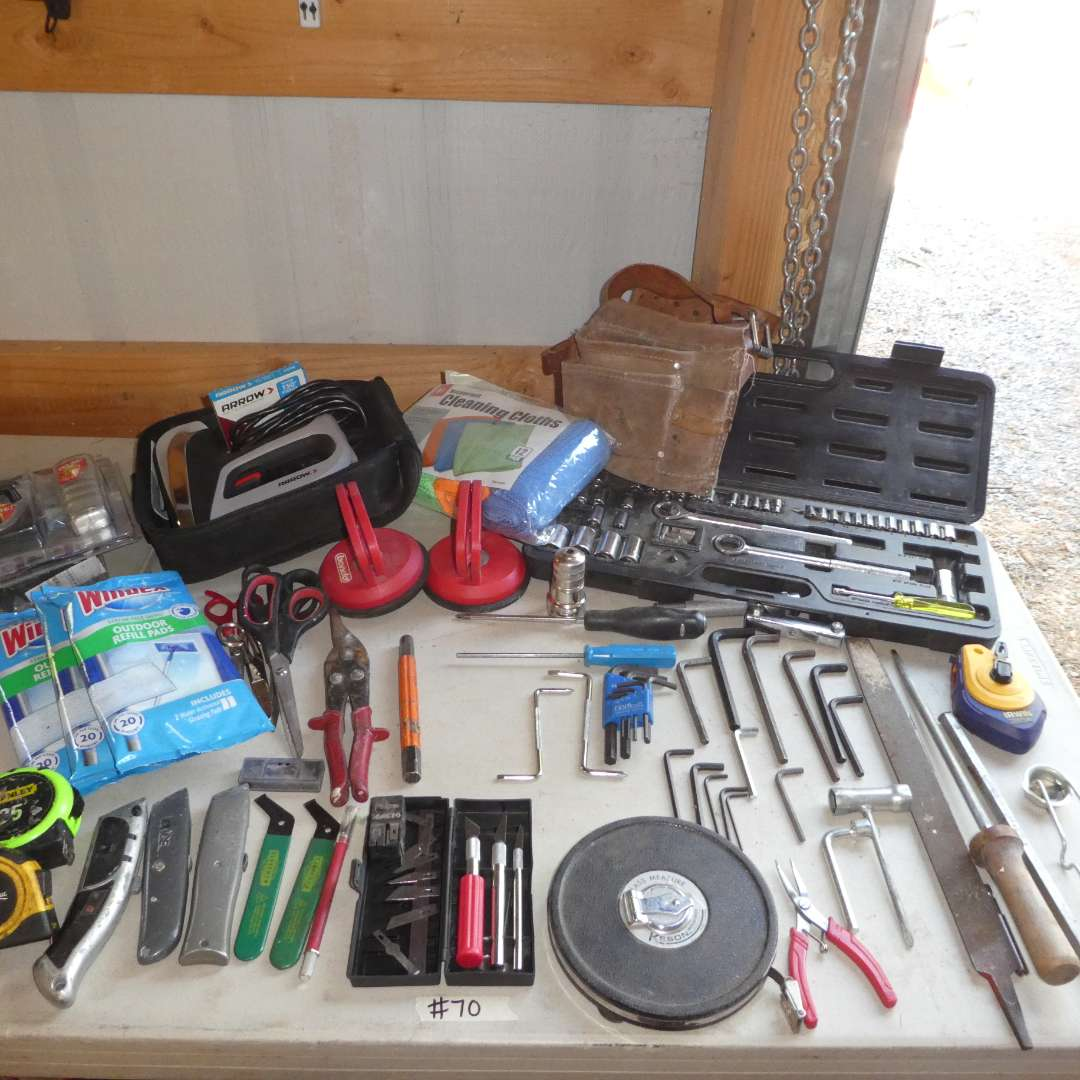 Lot # 70 - Arrow Staple Gun, Razors, X-Acto Knives, Allen Wrenches, Socket Wrench Set and More