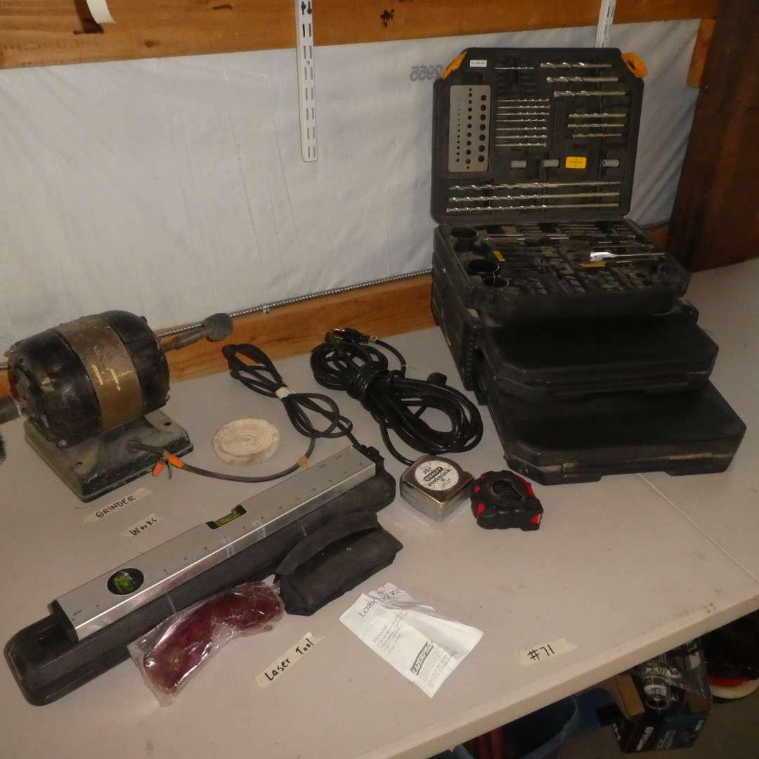 Lot # 71 - Huge GMC Drill Bit Set, Grinder and Laser Tool Kit
