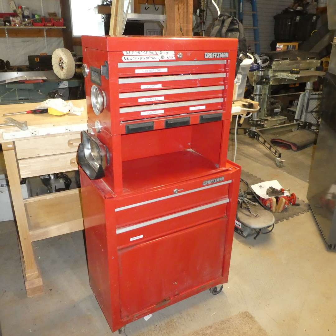 Lot # 73 - Nice Craftsman Tool Chest Filled w/ a Variety of Tools (See all Photos)