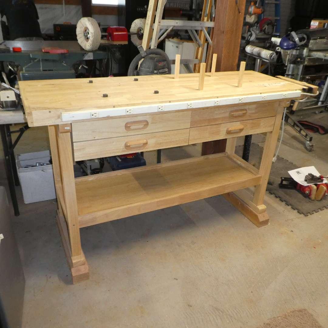 "Lot # 75 -Windsor Design 60"" 4 Drawer Hardwood Workbench"