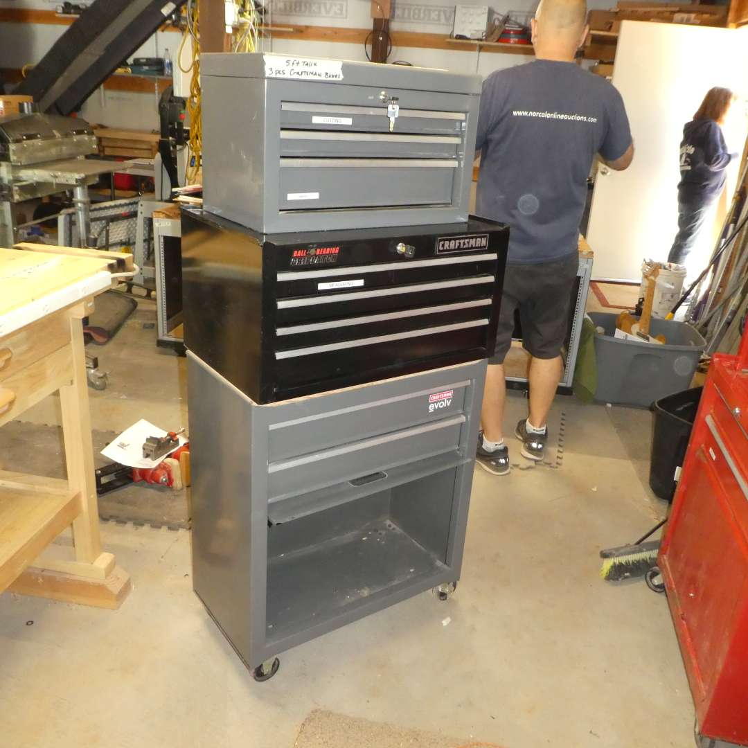Lot # 76 - Stacked Craftsman Tool Boxes on Wheels (3 Pieces)