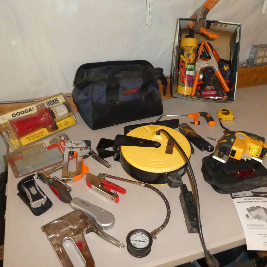 Lot # 78 - Cord Reel Extension Cord, Spring Clamps, Floor Installation Laser and Stapler