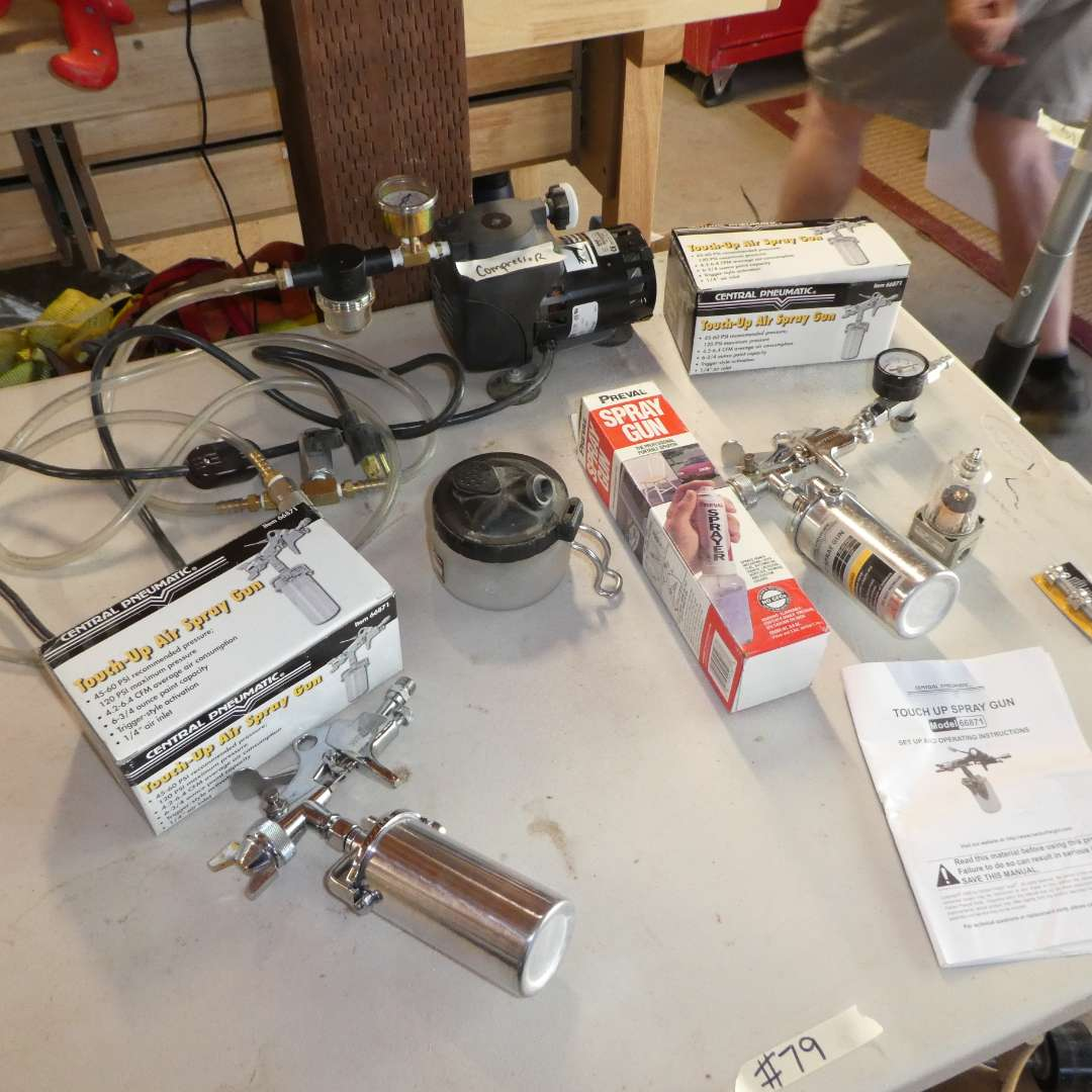 Lot # 79 - Table Top Fasco Compressor and Touch Up Spray Guns