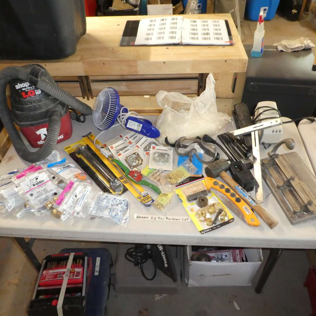 Lot # 80 - Table Top Shop Vac, Misc Hardware Zip-ties and More