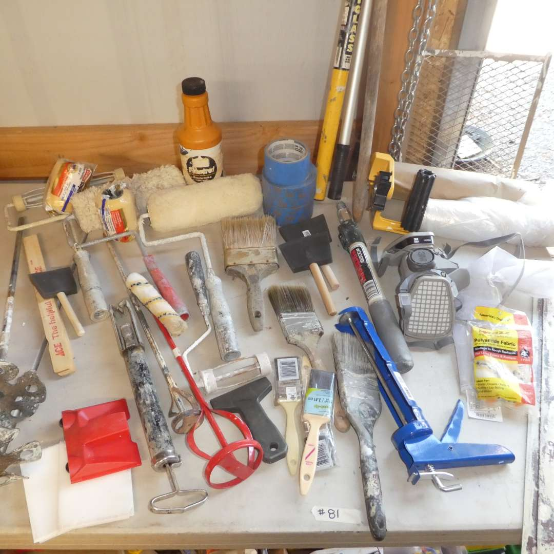 Lot # 81 - Painting Supplies - Caulking Guns, Paint Brushes and Rollers