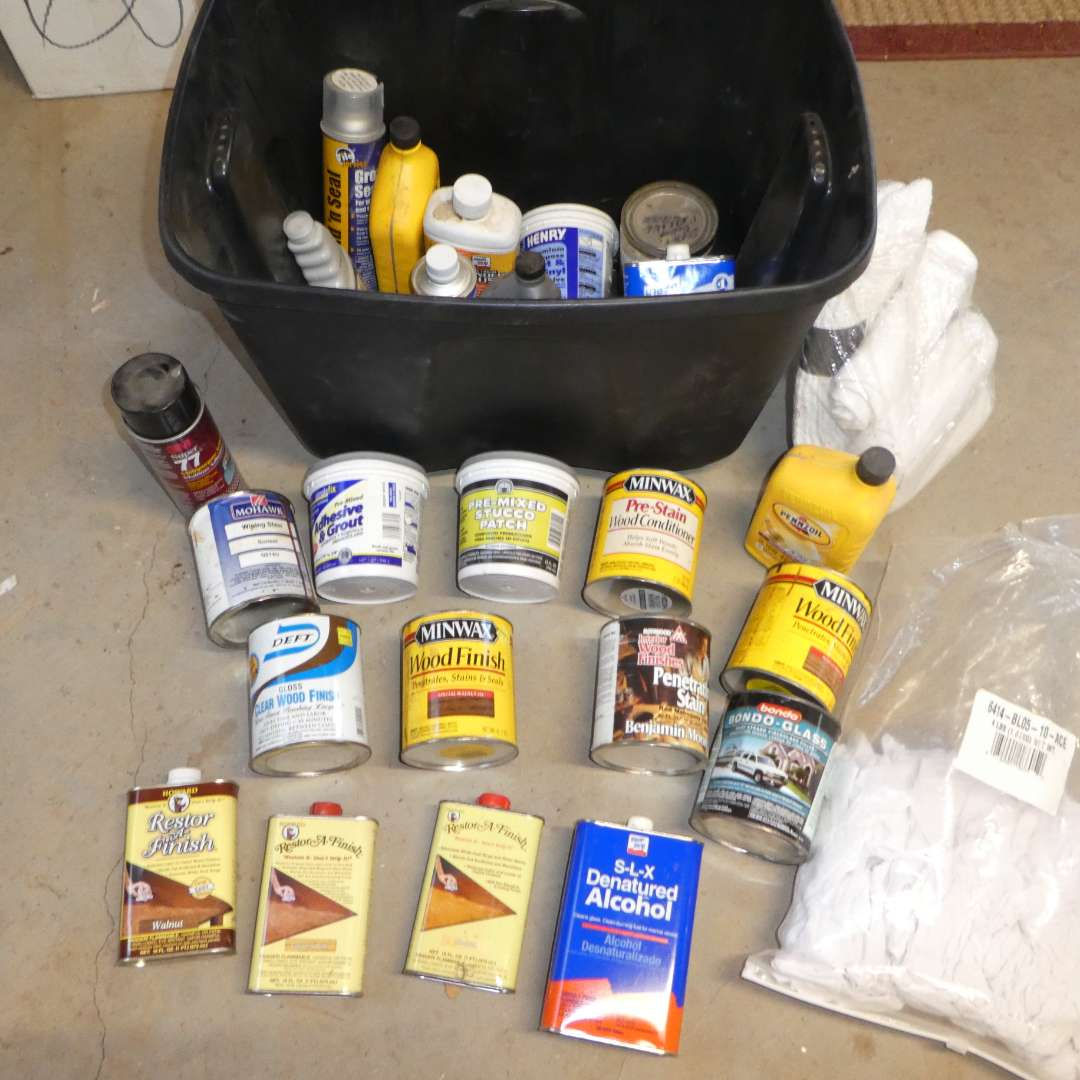 Lot # 82- Variety of Wood Stains and Other Household Chemicals