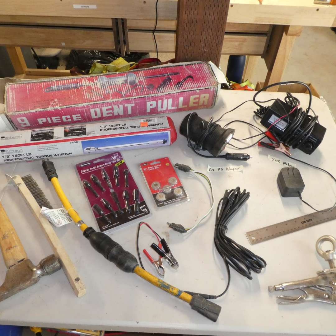Lot # 87 - Dent Puller, Torque Wrench, Router File Set and More
