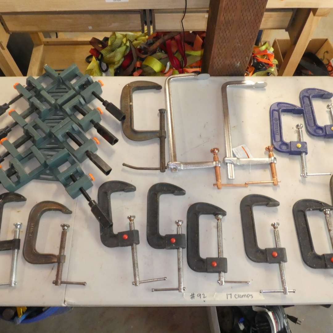 Lot # 92 - Lot of 17 Clamps- C-Clamps, Framing Clamps and Welding Clamps