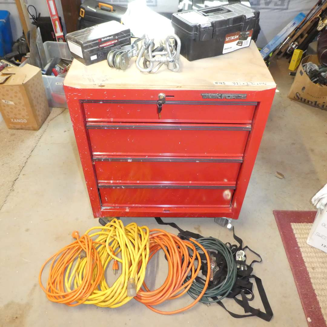 Lot # 93 -  Tools Chest On Wheels w/ Extension Cords and More