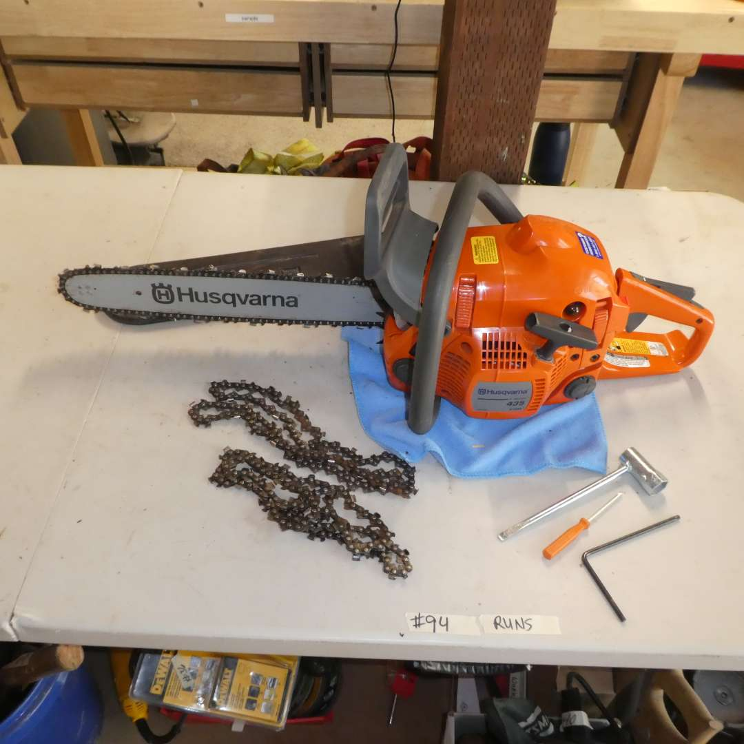 """Lot # 94- Husqvarna Chainsaw w/ 18""""  Bar and Extra Chains"""