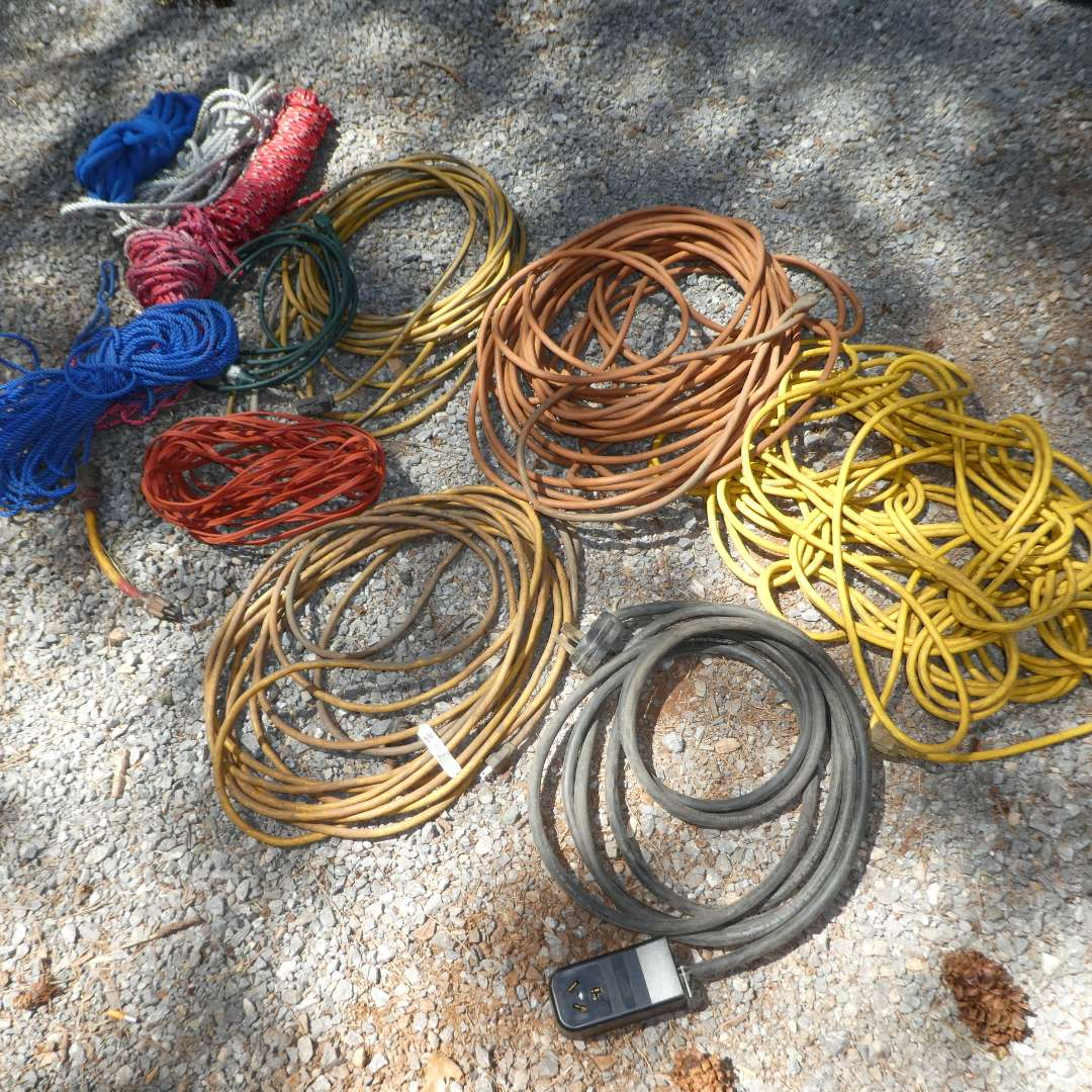 Lot # 96 - Variety of Extension Cords and Rope