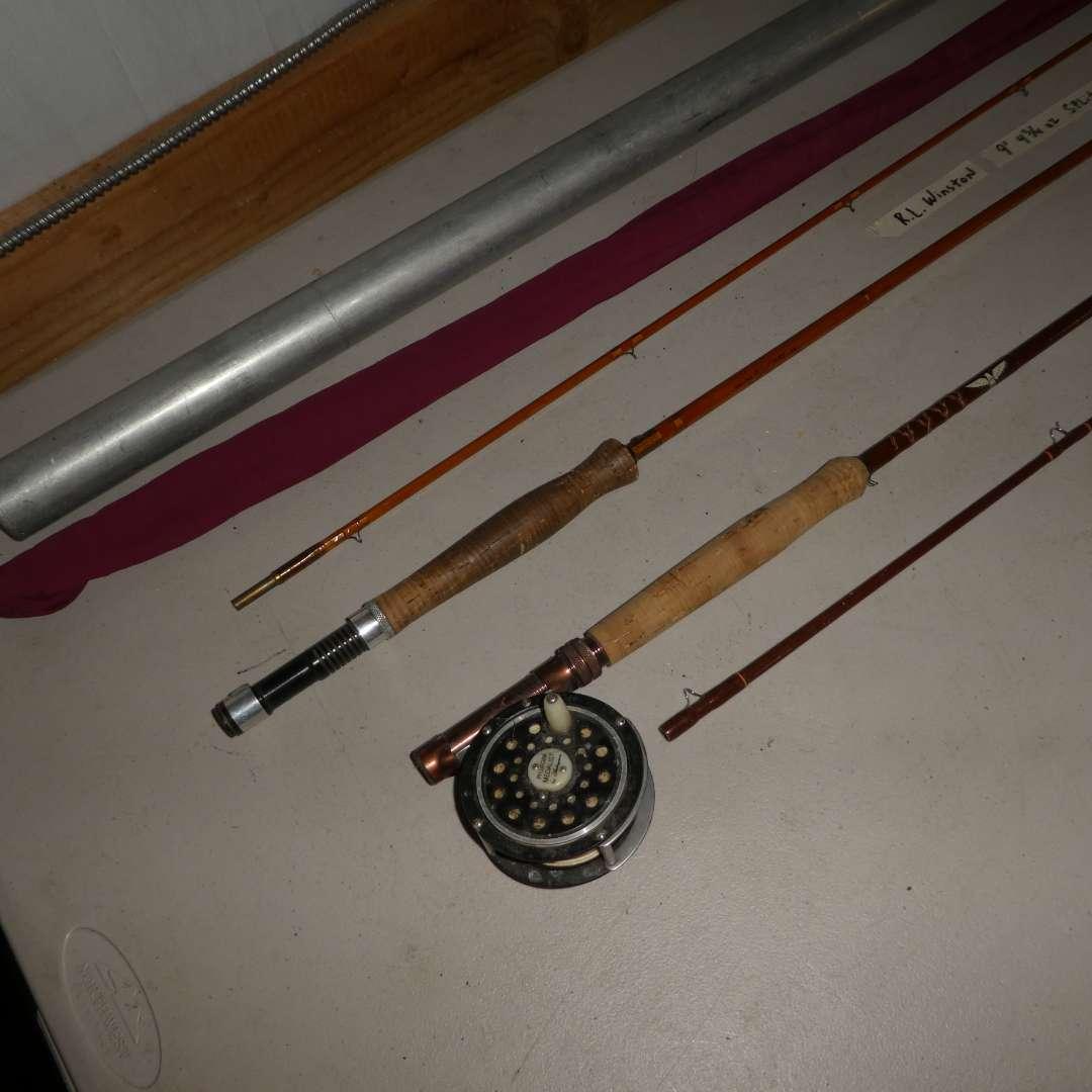 Lot # 204 - R.L. Winston 9'   4 3/4 Split Bamboo Rod # 6184 and Fenwick FF756 7 1/2 '   3 1/8 Rod and Pflueger Metalist Reel