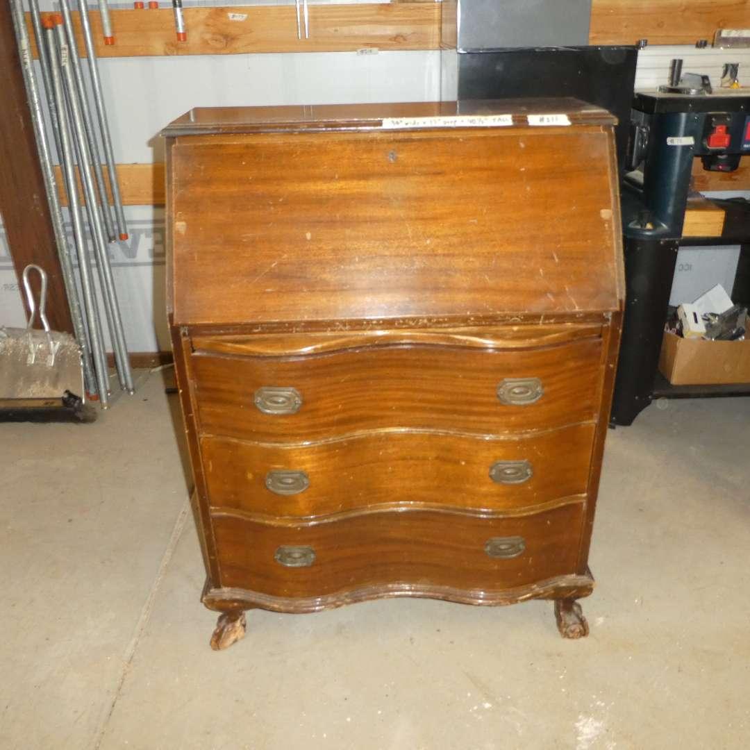 Lot # 211 - Beautiful Antique Secretary Desk (Dovetail Drawers)