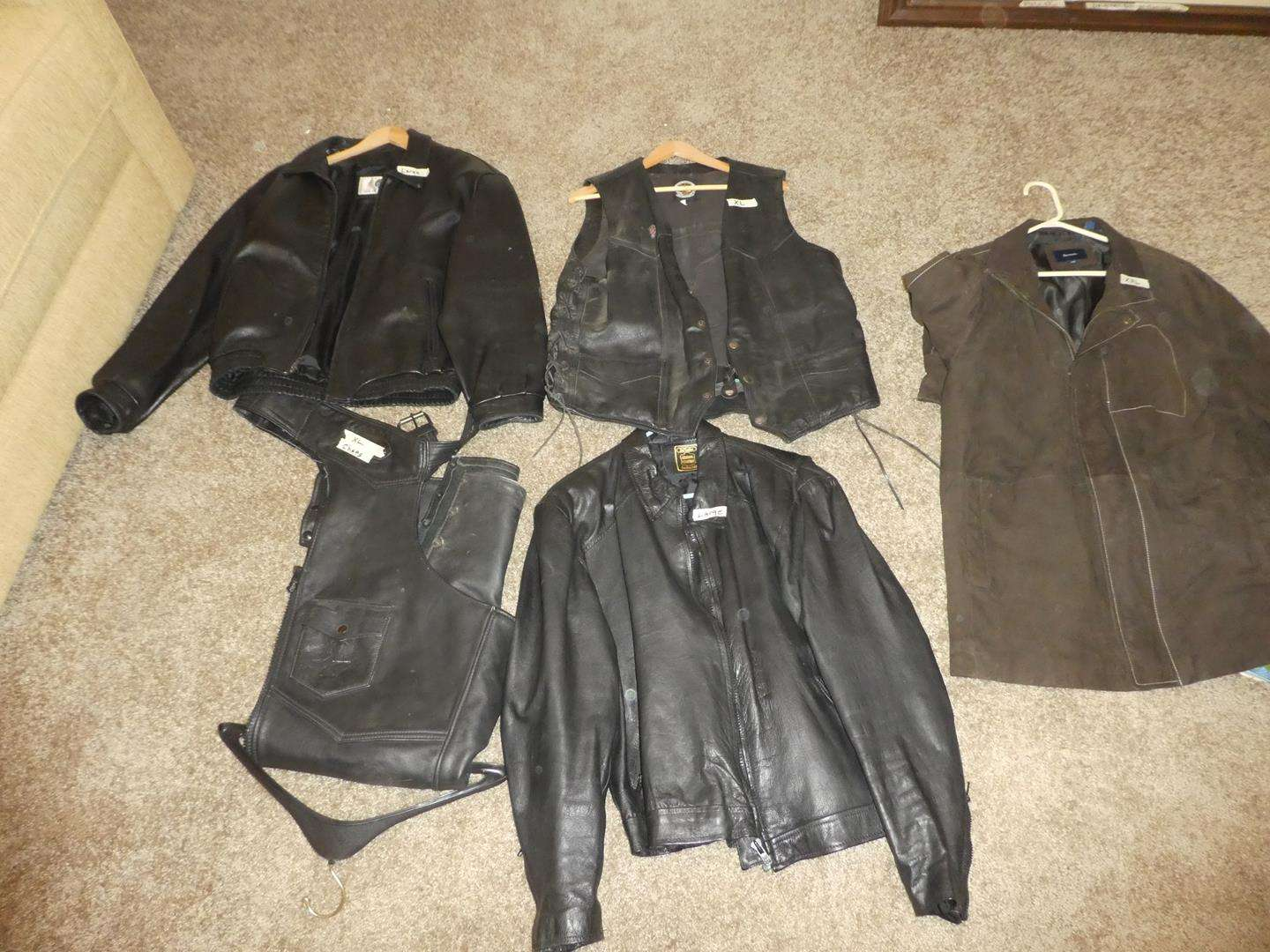 Lot # 409 - Leather Harley Davidson Vest, Leather Jackets & Chaps - See Pics For Sizes