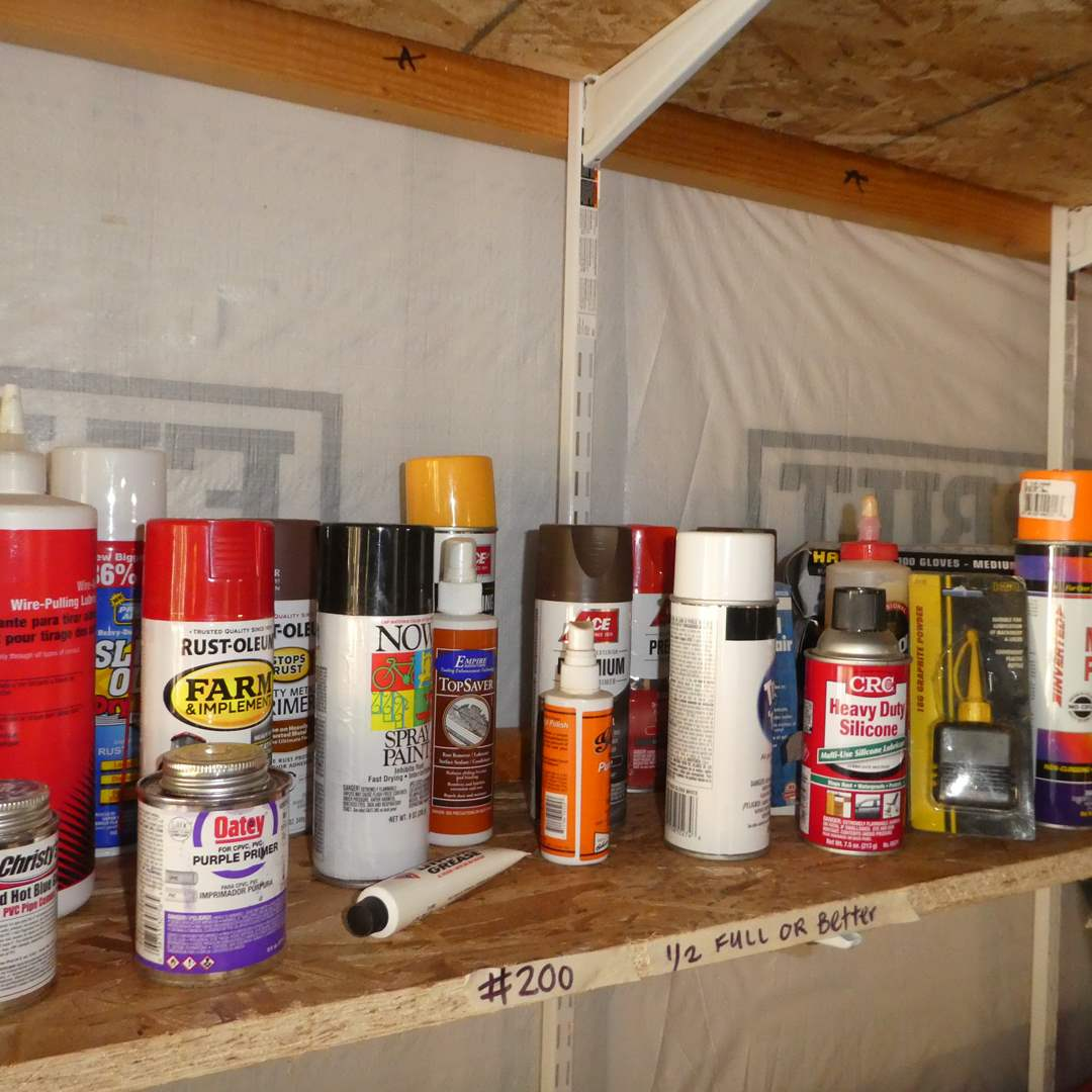 Lot # 200 - Variety of Spray Paints, Wasp Spray, Gloves and More (main image)