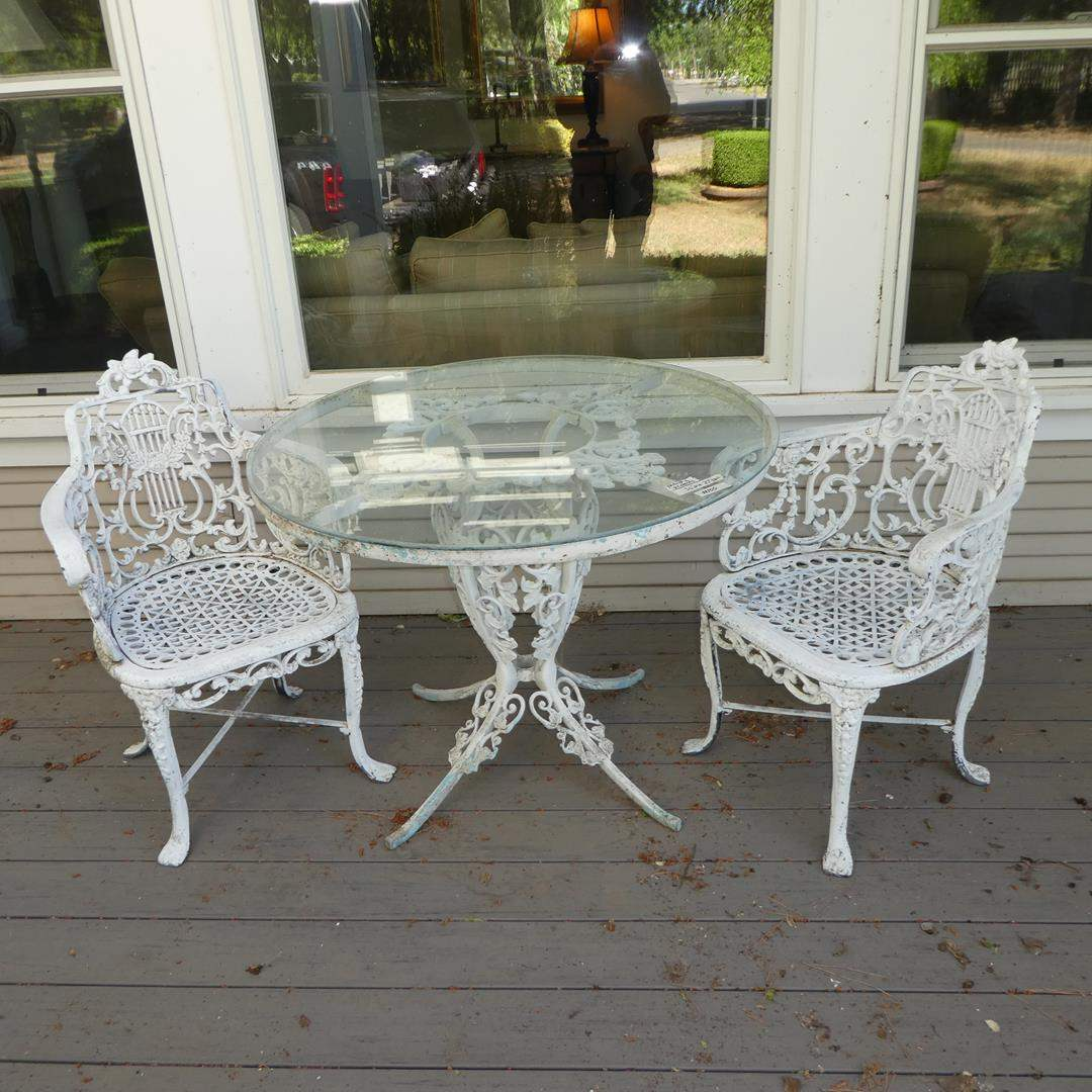 Lot # 100 - Amazing Vintage Ornate Heavy Cast Iron w/Glass Top Patio Table & Pair Matching Chairs (main image)