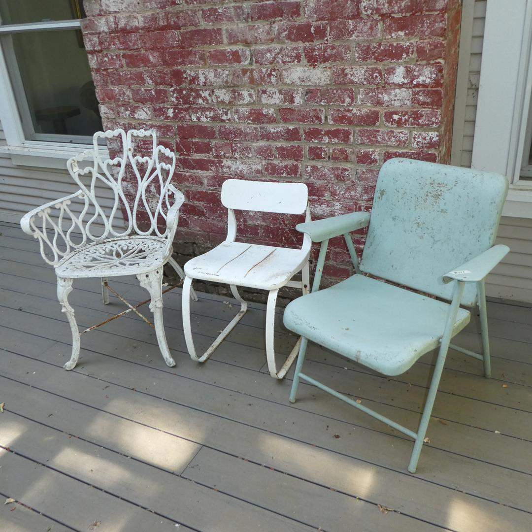 Lot # 101 - Vintage Ornate Cast Iron Patio Chair & Two Metal Patio Chairs