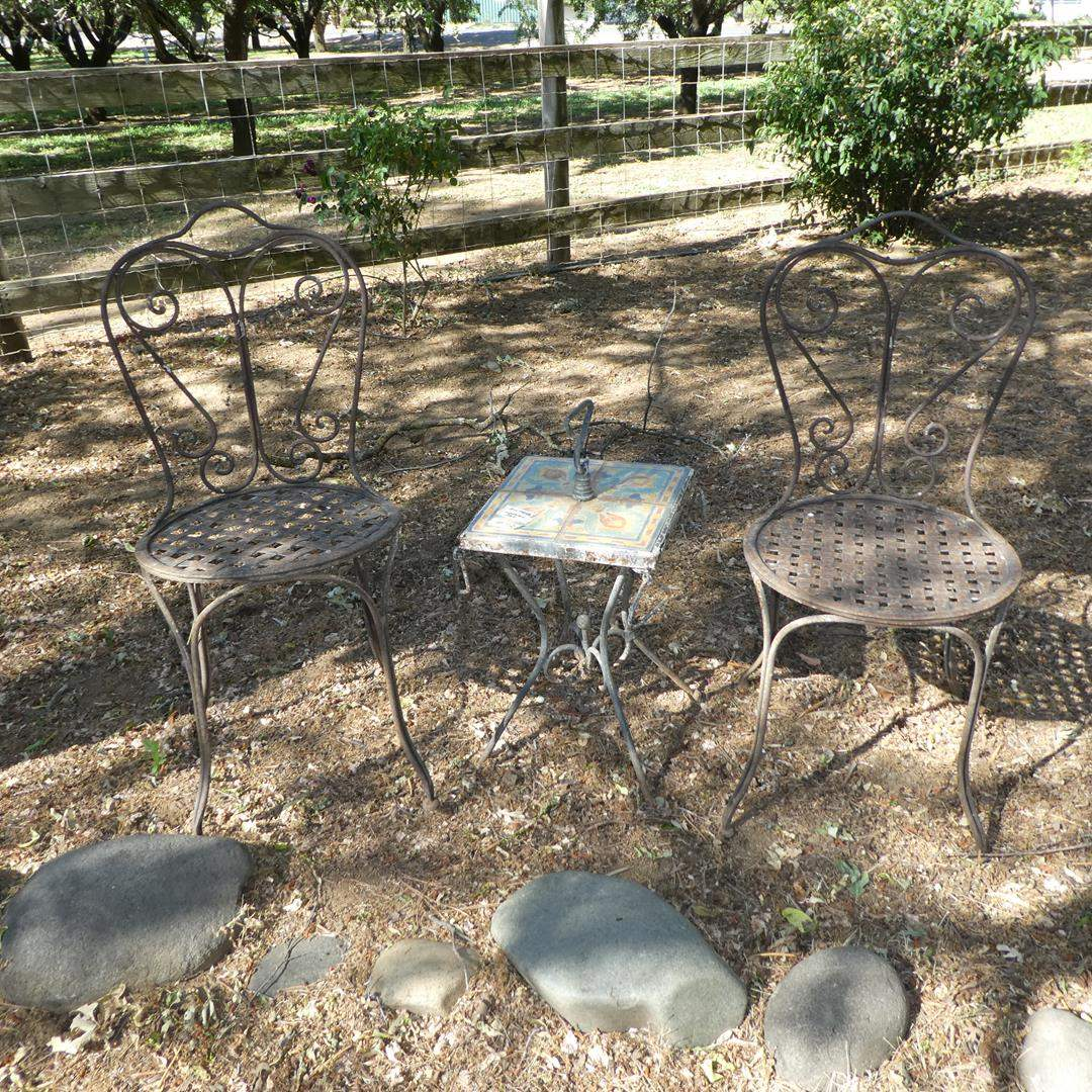 Lot # 102 - Pair Vintage Metal Patio Chairs & Tile Top Side Table