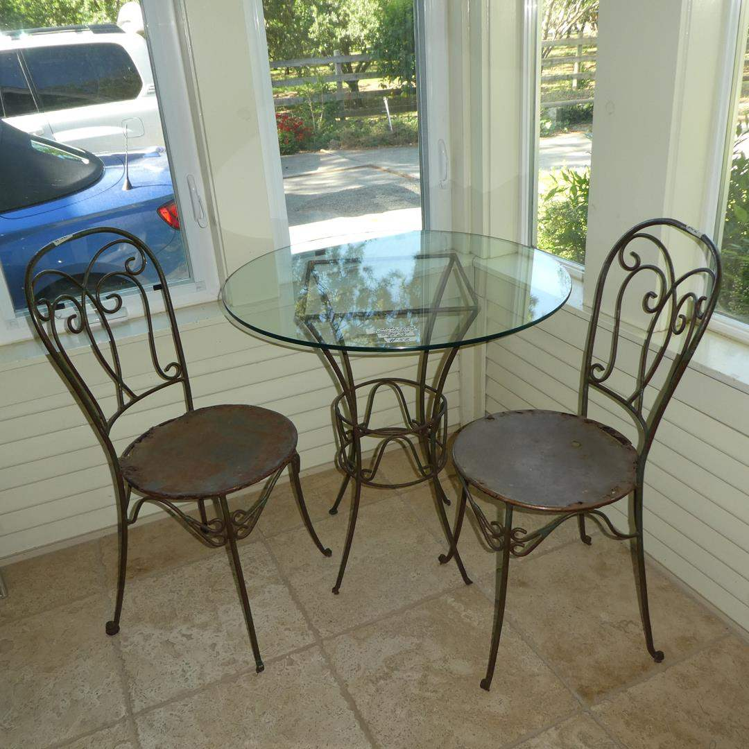 Lot # 52 - Glass Top Metal Base Bistro Table & Two Metal Chairs