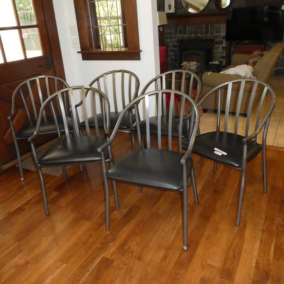 """Lot # 54 - Six Modern """"Industrial Looking"""" Metal Dinning Chairs w/Padded Seats"""