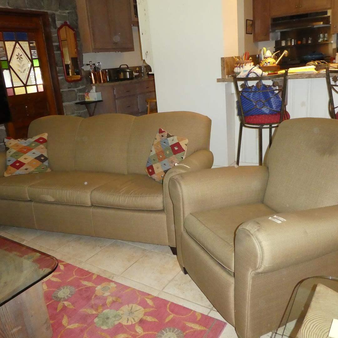 Lot # 55 - Crate & Barrel Sofa & Matching Recliner