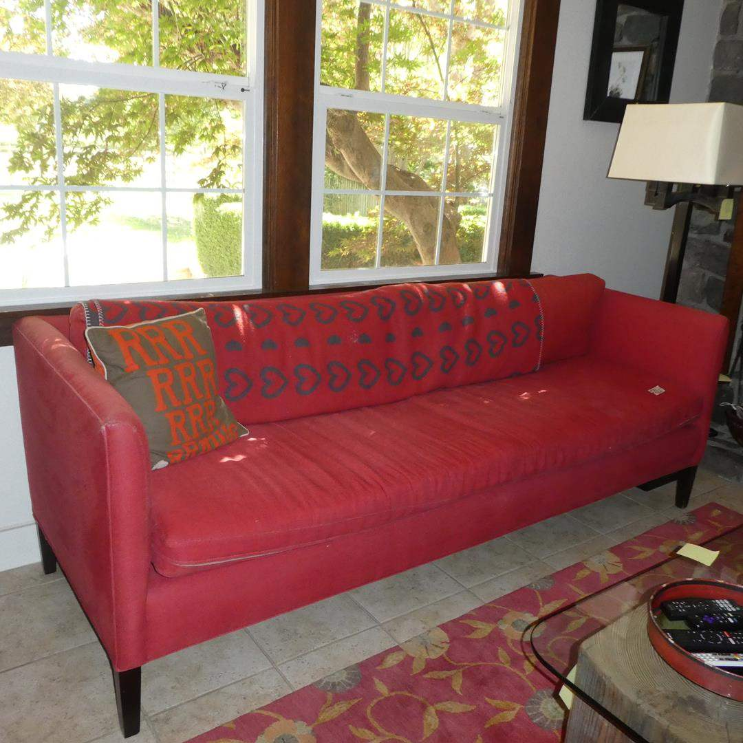 Lot # 56 - Vintage Red Sofa w/Feather & Down Cushion