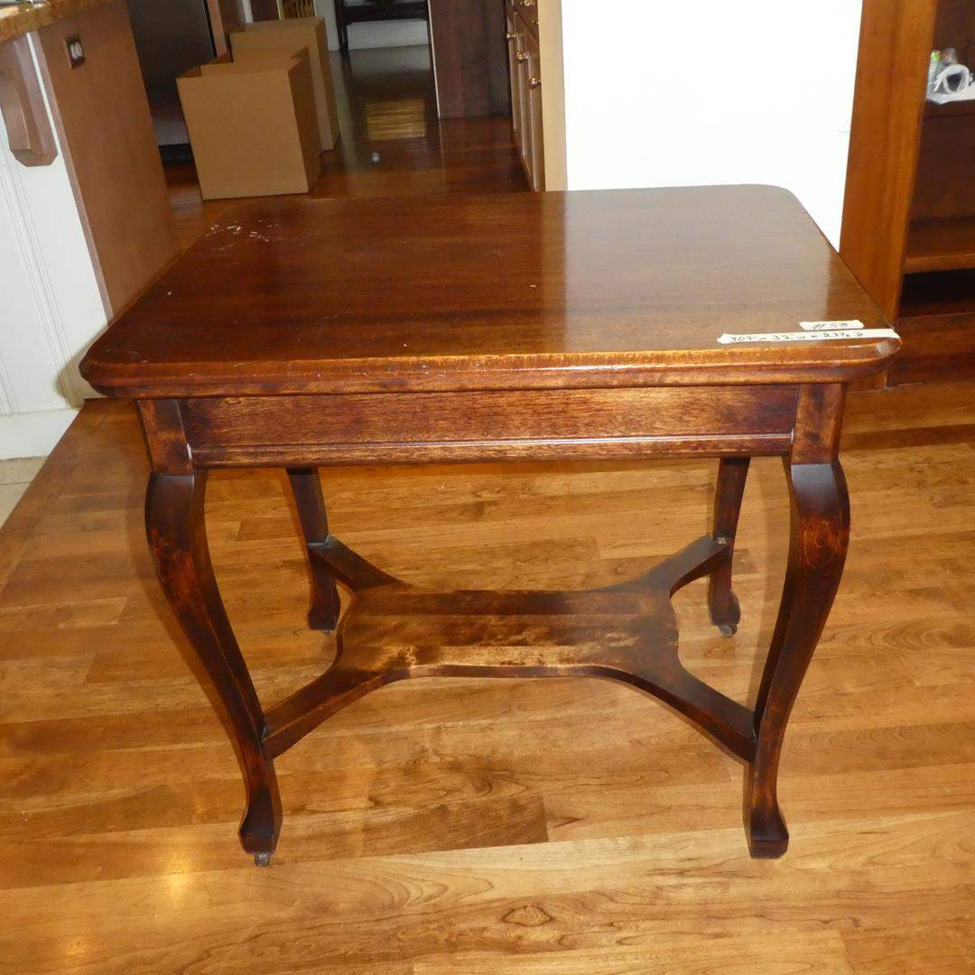 Lot # 58 - Vintage Wooden Accent Table on Casters w/Dovetailed Drawer (main image)
