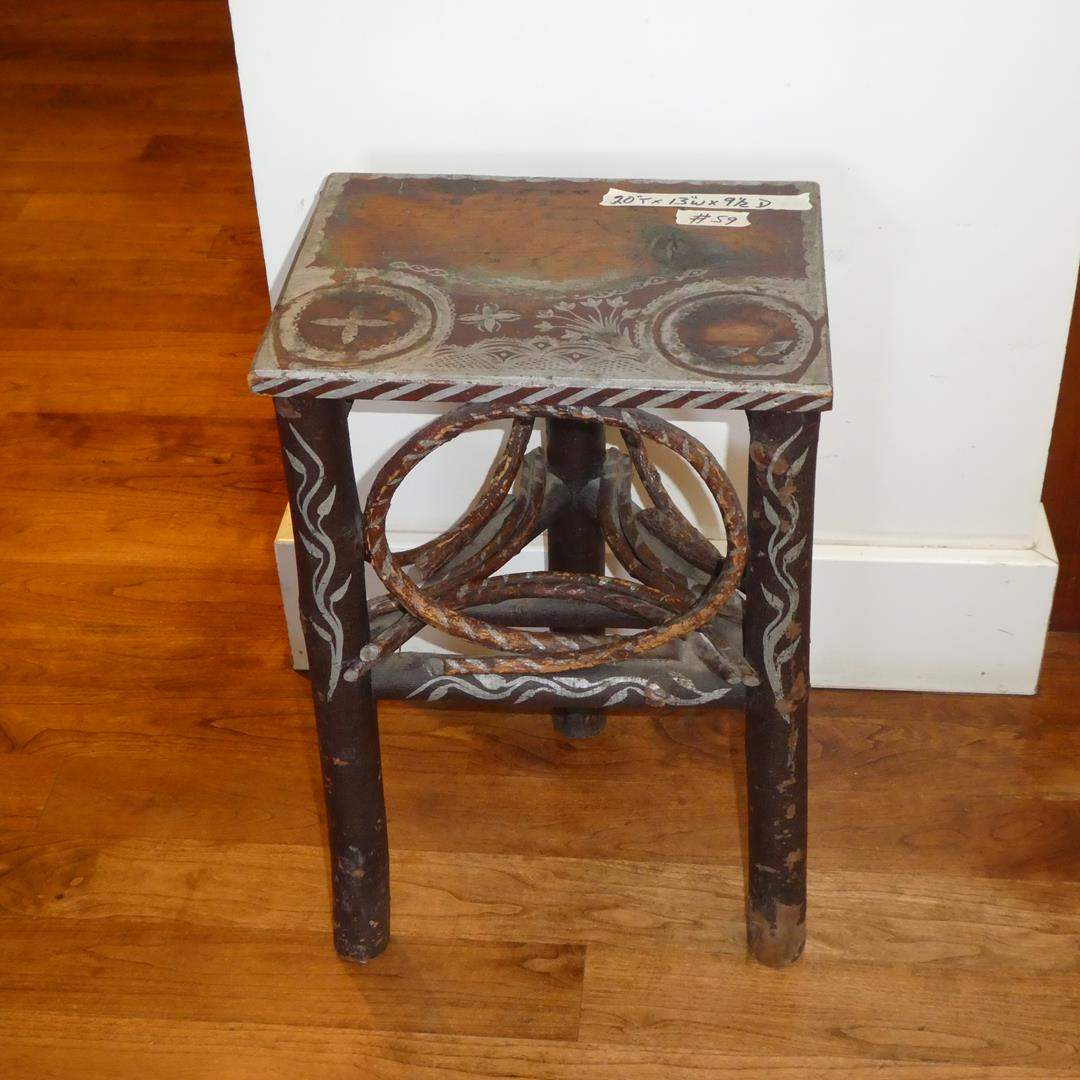 Lot # 59 - Small Cabin Style Tripod Accent Table (main image)