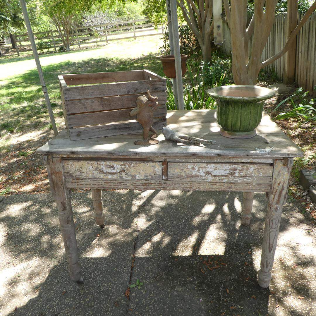 Lot # 105 - Old Wooden Crate, Metal Frogs, Planter & Primitive Bakers Table on Casters (Missing 2 Casters)
