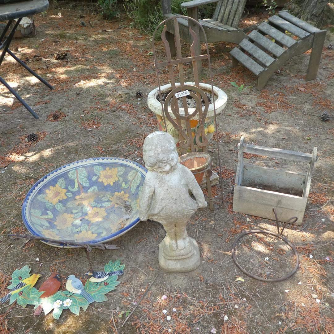 Lot # 108 - Garden Art & Concrete Girl Statue (main image)