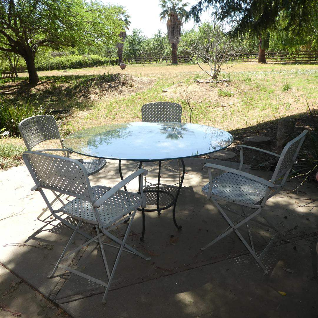 Lot # 111 - Tile & Glass Top Patio Table w/Four Folding Metal Chairs