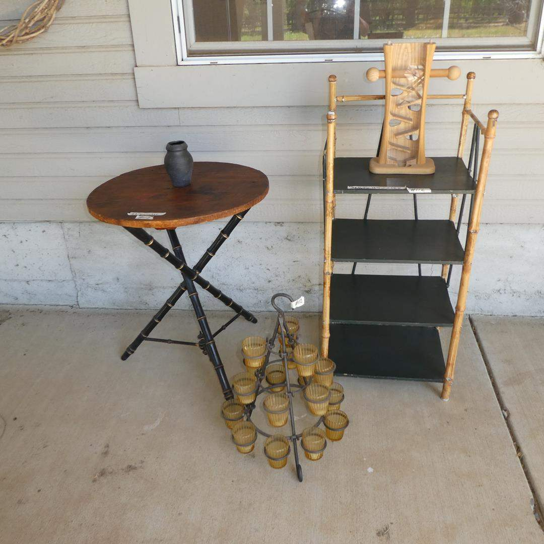 Lot # 112 - Round Accent Table, Romania Vase, Candle Holders & Bookshelf w/Bamboo Frame