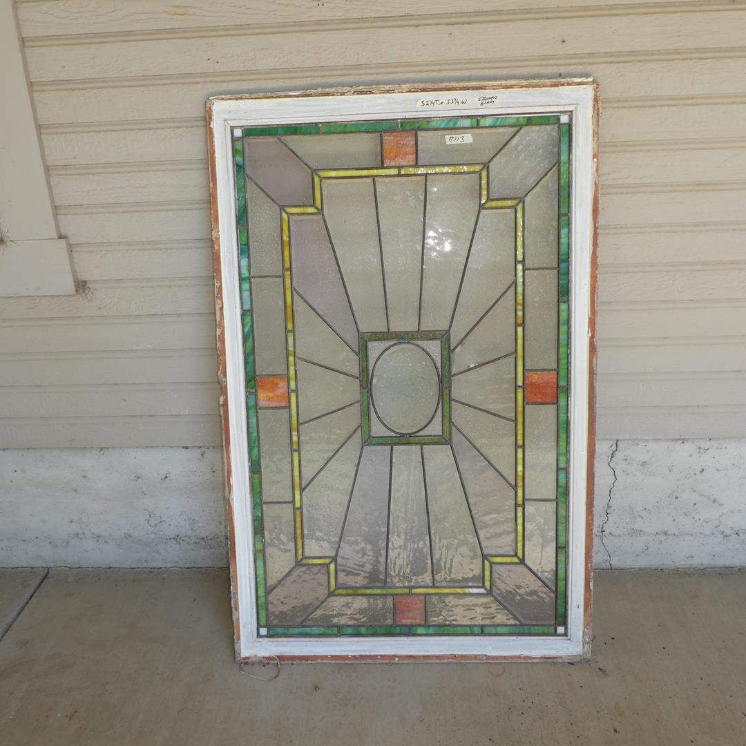 Lot # 113 - Large Vintage Stained Glass Window (main image)