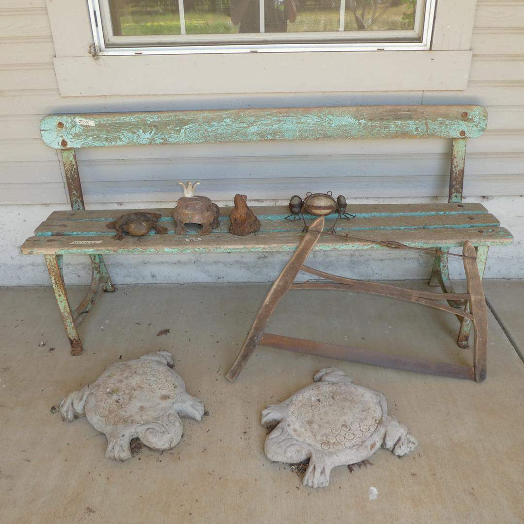 Lot # 114 - Rustic Wood Bench, Cast Iron Frogs, Old Saw & Concrete Frog Stepping Stones