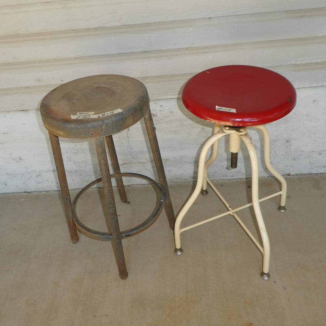 Lot # 114A - Two Antique Metal Stools (One is Adjustable)