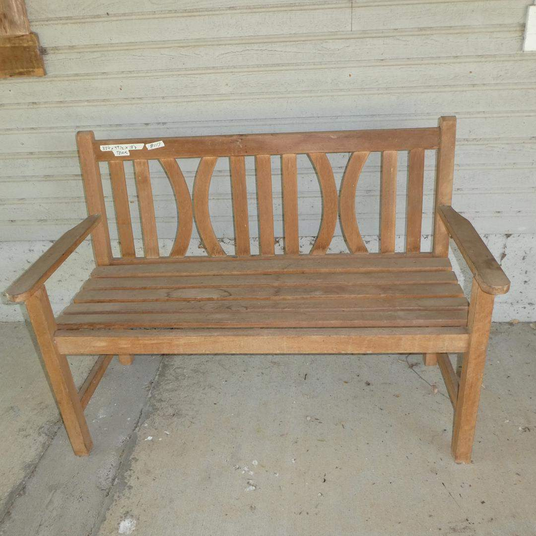 Lot # 117 - Solid Wood Patio Bench