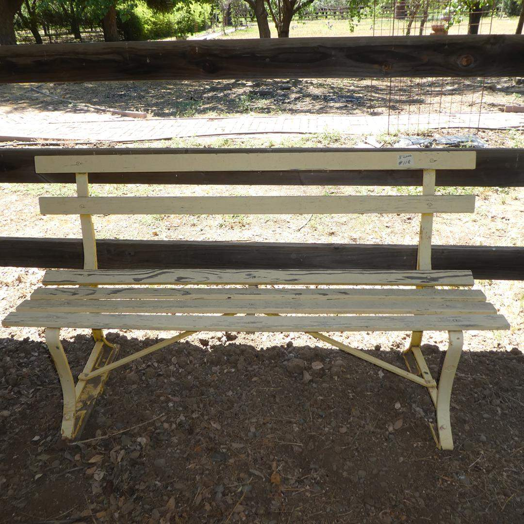 Lot # 118 - Rustic Wooden Patio Bench (main image)